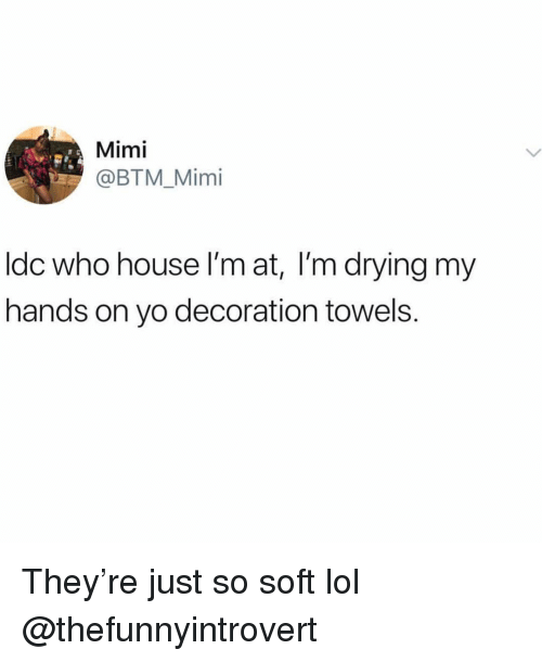 Funny, Lol, and Yo: Mimi  @BTM_Mimi  ldc who house I'm at, I'm drying my  hands on yo decoration towels. They're just so soft lol @thefunnyintrovert