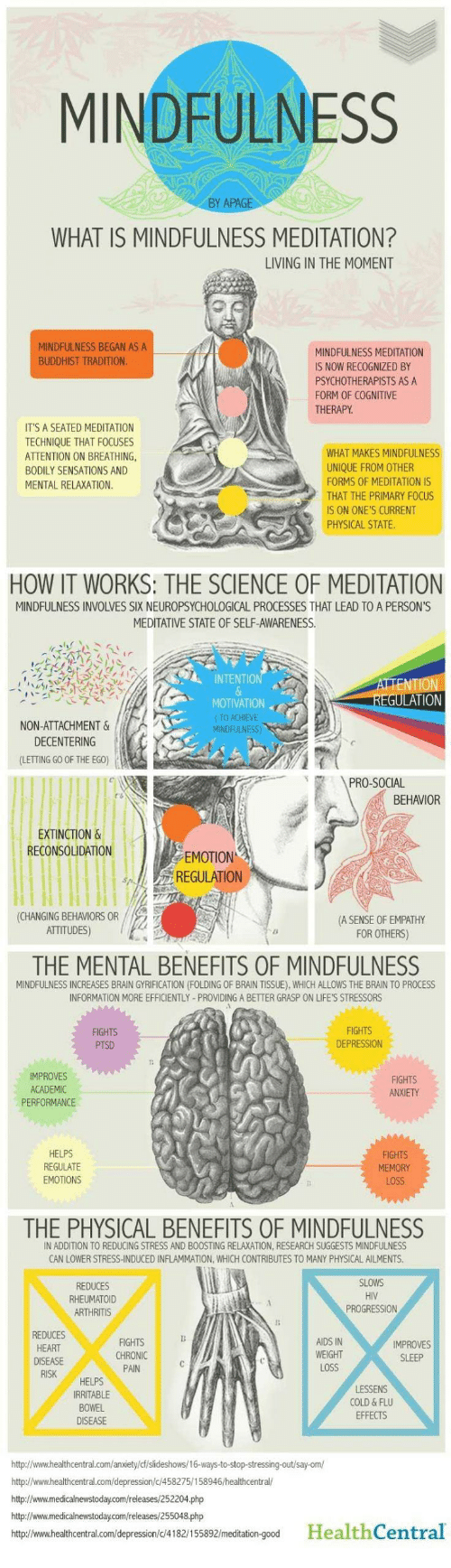 Meditative: MINDFULNESS  WHAT IS MINDFULNESS MEDITATION?  LIVING IN THE MOMENT  MINDFULNESS BEGAN AS A  BUDDHIST TRADITION  MINDFULNESS MEDITATION  S NOW RECOGNIZED BY  PSYCHOTHERAPISTS AS A  FORM OF COGNITIVE  THERAPY  ITS A SEATED MEDITATION  TECHNIQUE THAT FOCUSES  ATTENTION ON BREATHING  BODILY SENSATIONS AND  MENTAL RELAXATION  WHAT MAKES MINDFULNESS  UNIQUE FROM OTHER  FORMS OF MEDITATION IS  THAT THE PRİMARYFOCUS  IS ON ONE'S CURRENT  PHYSICAL STATE  HOW IT WORKS: THE SCIENCE OF MEDITATION  MINDFULNESS INVOLVES SIX NEUROPSYCHOLOGICAL PROCESSES THAT LEAD TO A PERSON'S  MEDITATIVE STATE OF SELF-AWARENESS.  INTENTIO  TION  MOTIVATION  (TO ACHIEVE  NON-ATTACHMENT &  DECENTERING  (LETTING GO OF THE EGO)  PRO-SOCIAL  BEHAVIOR  EXTINCTION &  RECONSOLUDATION  EMOTION  REGULATION  CHANGING BEHAVIORS OR  ATTITUDES)  A SENSE OF EMPATHY  FOR OTHERS)  THE MENTAL BENEFITS OF MINDFULNESS  MINDFULNESS INCREASES BRAIN GYRIFICATION (FOLDING OF BRAIN TISSUE), WHICH ALLOWS THE BRAIN TO PROCESS  INFORMATION MORE EFFICIENTLY-PROVIDING A BETTER GRASP ON LIFE'S STRESSORS  FIGHTS  DEPRESSION  MPROVES  ACADEMIC  PERFORMANCE  FIGHTS  ANXIETY  HELPS  REGULATE  EMOTIONS  FIGHTS  MEMORY  LOSS  THE PHYSICAL BENEFITS OF MINDFULNESS  IN ADDITION TO REDUCING STRESS AND BOOSTING RELAXATION, RESEARCH SUGGESTS MİNDFULNESS  CAN LOWER STRESS-INDUCED INFLAMMATION, WHICH CONTRIBUTES TO MANY PHYSICAL AILMENTS  REDUCES  RHEUMATOID  HIV  PROGRESSION  REDUCES  HEART  FIGHTS  CHRONIC  PAIN  AIDS IN  WEIGHT  LOSS  SLEEP  HELPS  IRRITABLE  BOWEL  DISEASE  COLD & FLU  EFFECTS  http://www.healthcentral.com/anxiety/cfislideshows/16-ways-to-stop-stressing-out/say-om/  http://www.healthcentral.com/depression/c 458275/158946/healthcentral/  http://www.medicalnewstoday.com/releases/252204.php  http://www.medicalnewstoday.com/releases/255048.php  htp//www.healthcentral.com/depression/c/4182/155892/meditation-good HealthCentral