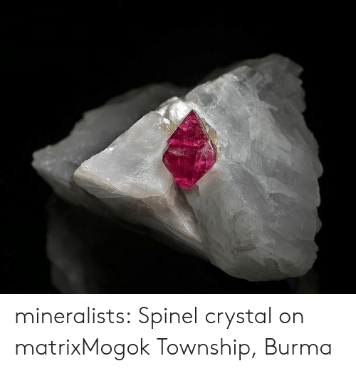 burma: mineralists:  Spinel crystal on matrixMogok Township, Burma