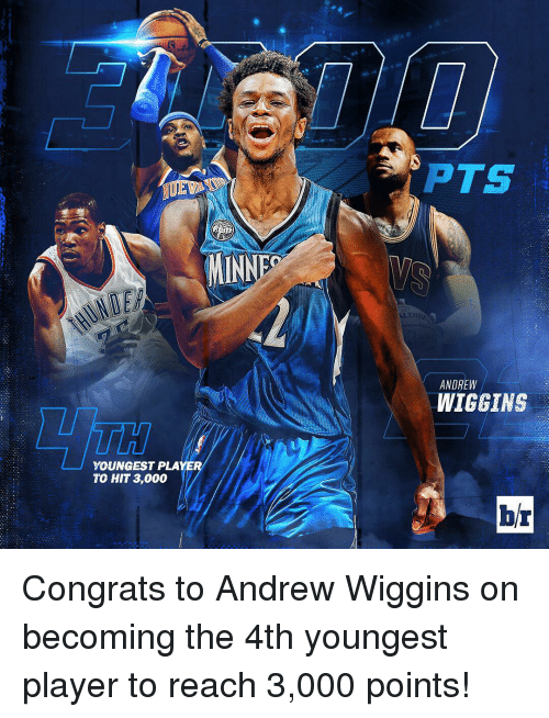 Andrew Wiggins: MINNES  YOUNGEST PLAYE  TO HIT 3,000  PTS  ANDREW  WIGGINS  br Congrats to Andrew Wiggins on becoming the 4th youngest player to reach 3,000 points!