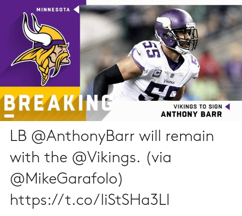 Memes, Minnesota, and Vikings: MINNESOTA  Vth  BREAKIN  VIKINGS TO SIGN  ANTHONY BARR LB @AnthonyBarr will remain with the @Vikings.  (via @MikeGarafolo) https://t.co/liStSHa3Ll