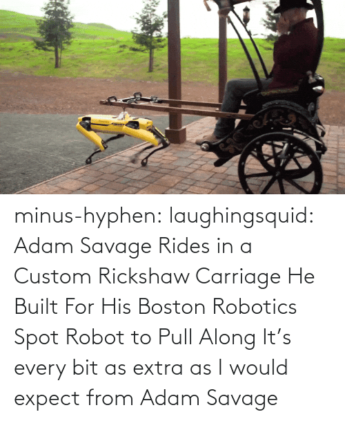 Expect: minus-hyphen: laughingsquid: Adam Savage Rides in a Custom Rickshaw Carriage He Built For His Boston Robotics Spot Robot to Pull Along   It's every bit as extra as I would expect from Adam Savage