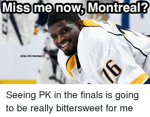 Finals, Memes, and National Hockey League (NHL): Miss me now Montreal?  elite nhl.memes Seeing PK in the finals is going to be really bittersweet for me