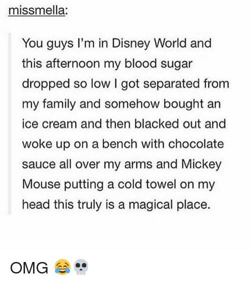 A Magical Place: miss mella:  You guys I'm in Disney World and  this afternoon my blood sugar  dropped so low l got separated from  my family and somehow bought an  ice cream and then blacked out and  woke up on a bench with chocolate  sauce all over my arms and Mickey  Mouse putting a cold towel on my  head this truly is a magical place. OMG 😂💀