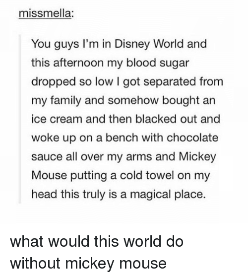 A Magical Place: miss mella:  You guys I'm in Disney World and  this afternoon my blood sugar  dropped so low l got separated from  my family and somehow bought an  ice cream and then blacked out and  woke up on a bench with chocolate  sauce all over my arms and Mickey  Mouse putting a cold towel on my  head this truly is a magical place. what would this world do without mickey mouse