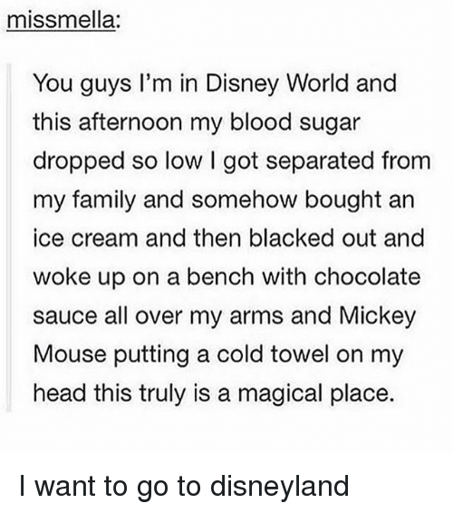 A Magical Place: miss mella:  You guys I'm in Disney World and  this afternoon my blood sugar  dropped so low l got separated from  my family and somehow bought an  ice cream and then blacked out and  woke up on a bench with chocolate  sauce all over my arms and Mickey  Mouse putting a cold towel on my  head this truly is a magical place. I want to go to disneyland