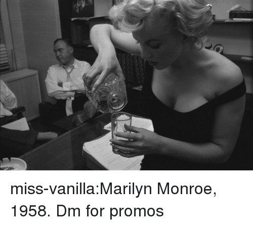Tumblr, Blog, and Marilyn Monroe: miss-vanilla:Marilyn Monroe, 1958.  Dm for promos