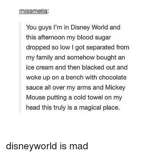 A Magical Place: mISSmella:  You guys I'm in Disney World and  this afternoon my blood sugar  dropped so low got separated from  my family and somehow bought an  ice cream and then blacked out and  woke up on a bench with chocolate  sauce all over my arms and Mickey  Mouse putting a cold towel on my  head this truly is a magical place. disneyworld is mad
