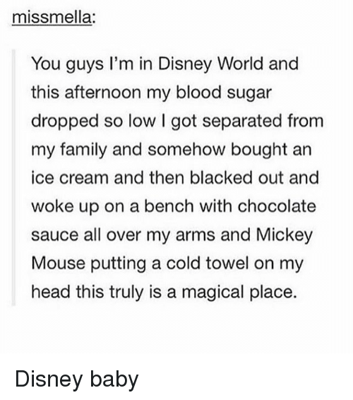 A Magical Place: missmella:  You guys I'm in Disney World and  this afternoon my blood sugar  dropped so low I got separated from  my family and somehow bought an  ice cream and then blacked out and  woke up on a bench with chocolate  sauce all over my arms and Mickey  Mouse putting a cold towel on my  head this truly is a magical place. Disney baby