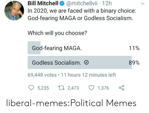 Maga: @mitchellvii 12h  In 2020, we are faced with a binary choice:  God-fearing MAGA or Godless Socialism  Bill Mitchell  Which will you choose?  God-fearing MAGA  11%  Godless Socialism.  89%  69,448 votes 11 hours 12 minutes left  L 2,473  5,235  1,376 liberal-memes:Political Memes