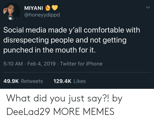 Did You Just Say: MIYANI  @honeyydippd  Social media made y'all comfortable with  disrespecting people and not getting  punched in the mouth for it.  5:10 AM . Feb 4, 2019 Twitter for iPhone  49.9K Retweets  129.4K Likes What did you just say?! by DeeLad29 MORE MEMES