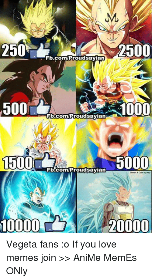 Animation Meme: ML  2500  2500  Fb.com/Proud sayian  500  10000  Fb.com/Proud sayian  1500  5000  Fb.com/Proud sayian  20000 Vegeta fans :o If you love memes join >> AniMe MemEs ONly
