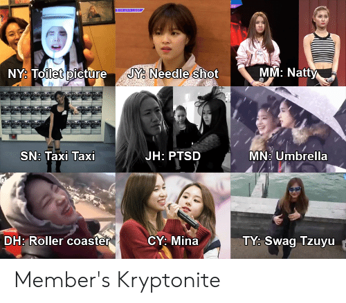 Swag, Taxi, and Ptsd: MM: Natty  NY. Toilet pictureJY. Needle shot  0  SN: Taxi Taxi  JH: PTSD MN: Umbrella  CY: Mina  DH: Roller coaster  TY: Swag Tzuyu Member's Kryptonite