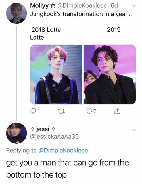 transformation: Mollyy@DimpleKookieee 6d  Jungkook's transformation in a year...  2018 Lotte  2019  Lotte  jessi  @jessickaAaAa30  Replying to @DimpleKookieee  get you a man that can go from the  bottom to the top