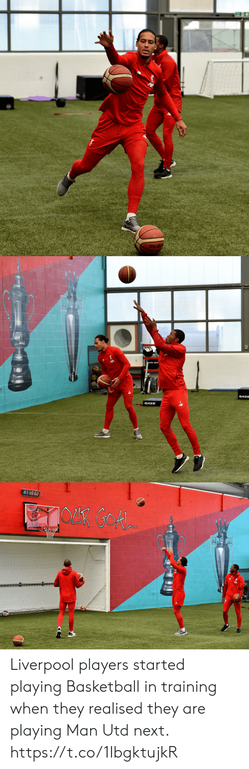 Basketball, Memes, and Liverpool F.C.: molte   RAZE  RAZE  20 Liverpool players started playing Basketball in training when they realised they are playing Man Utd next.  https://t.co/1IbgktujkR