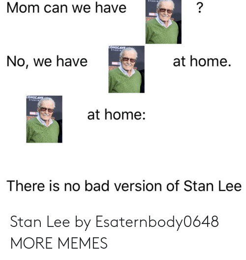 Bad, Dank, and Memes: Mom can we have  OMICAVE  No, we have  at home.  OMIC  at home:  There is no bad version of Stan Lee Stan Lee by Esaternbody0648 MORE MEMES