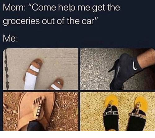 """Help, Mom, and Car: Mom: """"Come help me get the  groceries out of the car  Me"""