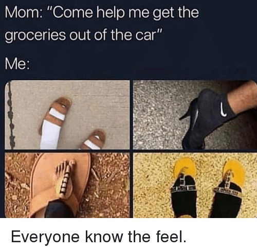 """Dank, Help, and Mom: Mom: """"Come help me get the  groceries out of the car  Me Everyone know the feel."""