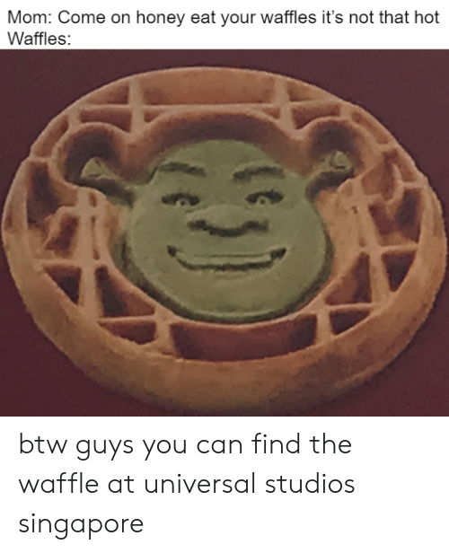 waffle: Mom: Come on honey eat your waffles it's not that hot  Waffles: btw guys you can find the waffle at universal studios singapore