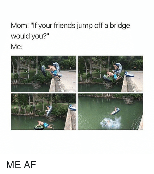 "jumps off: Mom: ""f your friends jump off a bridge  Mom: ""If your friends jump off a bridge  would you?""  Me: ME AF"