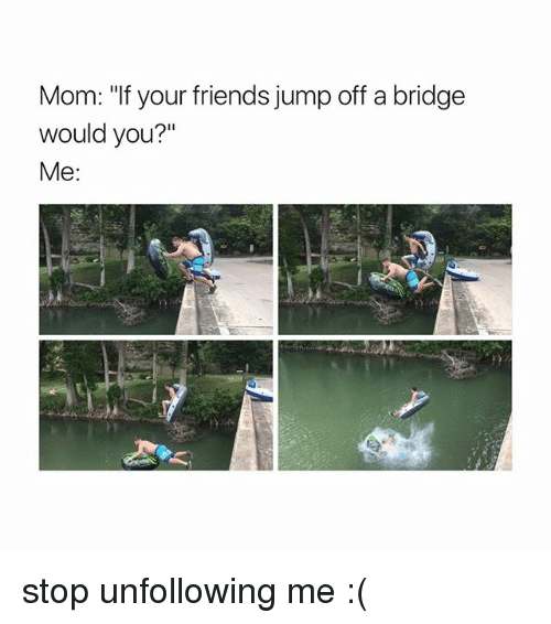"jumps off: Mom: ""If your friends jump off a bridge  would you?""  Me stop unfollowing me :("