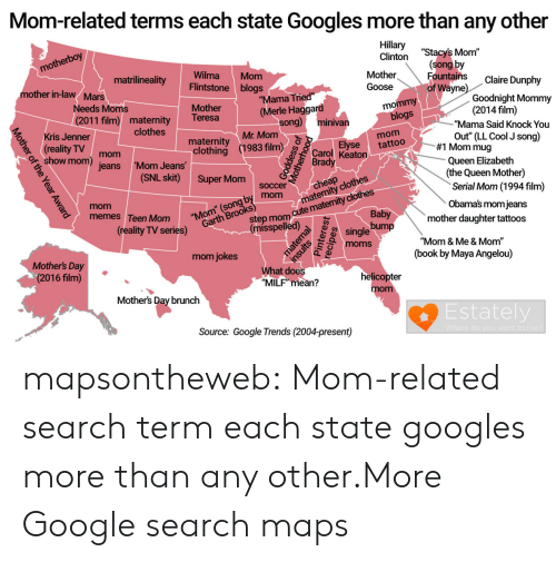 """Clothes, Cute, and Google: Mom-related terms each state Googles more than any other  Hillary """"Stacys  Clinton  (song by  Fountains  of Wayne  motherboy  Mother  Goose  WilmaMom  Flintstone blogs  Mother  matrilineality  Claire Dunphy  mother in-law/ Mars  """"Mama Tried  (Merle Haggard  Goodnight Mommy  (2014 film)  mommy  Needs Moms  (2011 film) maternity  blogs  om out(LL Cool J song)  Teresa  song) minivan  """"Mama Said Knock You  Kris Jenner  clothes  Mr. Mom  eality mom jeans  matenty1983 film  clothing  Elyse tattoo  #1 Mom mug  Carol Keaton  Brady  mom  show mom  Queen Elizabeth  (the Queen Mother)  jeans 'Mom Jeans  (SNL skit) Super omsccercheap clotre  soccer  mom atem  Serial Mom (1994 film)  mom  memes Teen Mom  Obama's mom jeans  mother daughter tattoos  Baby  ep mom cute matenity clothes  (reality TV series)  (misspelled)  e28 single bump  """"Mom & Me & Mom""""  (book by Maya Angelou)  mom jokes  Mothers Day  (2016 film)  What does  """"MILF"""" mean?  helicopter  mom  Mothers Day brunch  Estately  Source: Google Trends (2004-present) mapsontheweb:  Mom-related search term each state googles more than any other.More Google search maps"""