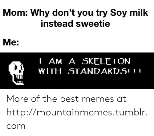 sweetie: Mom: Why don't you try Soy milk  instead sweetie  Me:  I AM A SKELETON  WITH STANDARDS! More of the best memes at http://mountainmemes.tumblr.com