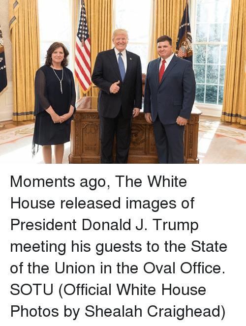 oval office: Moments ago, The White House released images of President Donald J. Trump meeting his guests to the State of the Union in the Oval Office. SOTU (Official White House Photos by Shealah Craighead)