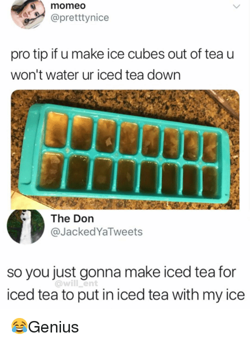Iced Tea: momeo  @pretttynice  pro tip if u make ice cubes out of tea u  won't water ur iced tea down  The Don  @JackedYaTweets  so you just gonna make iced tea for  iced tea to put in iced tea with my ice  @will ent 😂Genius