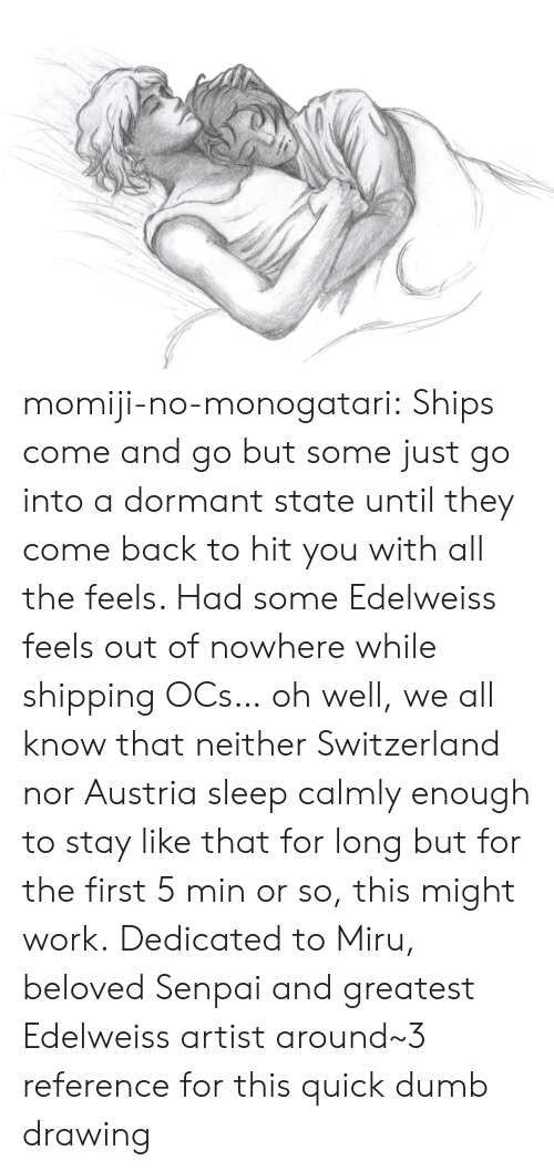 Dumb, Target, and Tumblr: momiji-no-monogatari:  Ships come and go but some just go into a dormant state until they come back to hit you with all the feels. Had some Edelweiss feels out of nowhere while shipping OCs… oh well, we all know that neither Switzerland nor Austria sleep calmly enough to stay like that for long but for the first 5 min or so, this might work. Dedicated to Miru, beloved Senpai and greatest Edelweiss artist around~3 reference for this quick dumb drawing