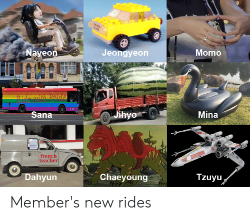 Teacher, French, and Momo: Momo  Jeongyeon  aveon  Mina  Sana  french  teacher  Tzuyu  Chaeyoung  Dahyun Member's new rides