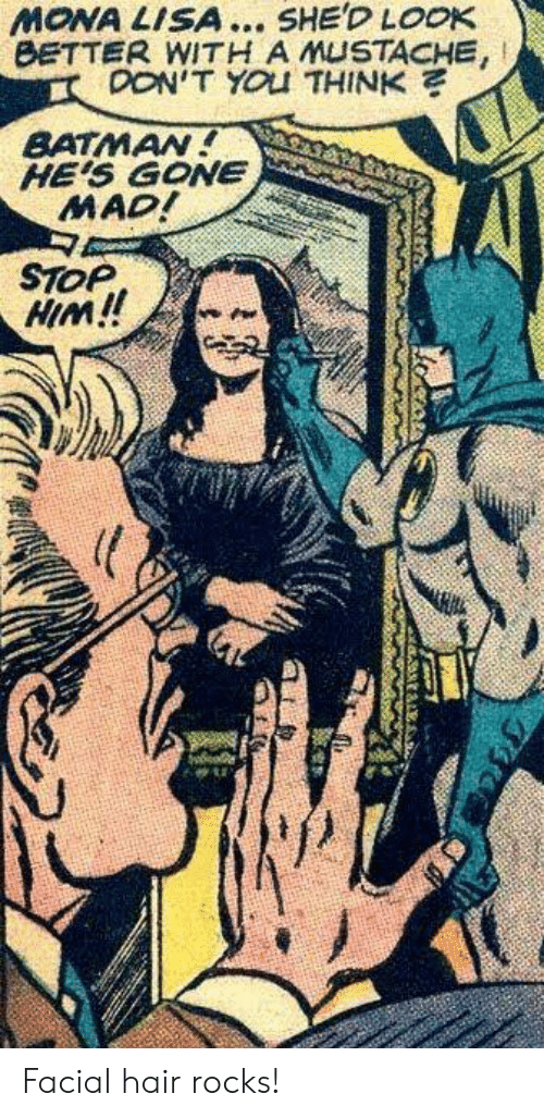 Batman: MONA LISA... SHE'D LOOK  BETTER WITH A MUSTACHE,  OON'T YOU THINK  BATMAN!  HE'S GONE  MAD!  STOP  HIM!! Facial hair rocks!