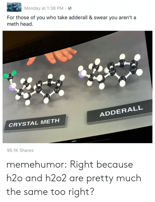 Head, Tumblr, and Blog: Monday at 1:38 PM.S  For those of you who take adderall & swear you aren't a  meth head  ADDERALL  CRYSTAL METH  95.1K Shares memehumor:  Right because h2o and h2o2 are pretty much the same too right?
