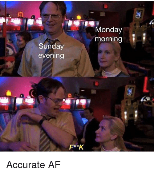Af, Memes, and Monday: Monday  morning  Sunday  evening  F**K Accurate AF