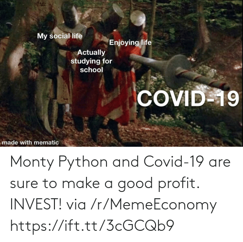 R Memeeconomy: Monty Python and Covid-19 are sure to make a good profit. INVEST! via /r/MemeEconomy https://ift.tt/3cGCQb9