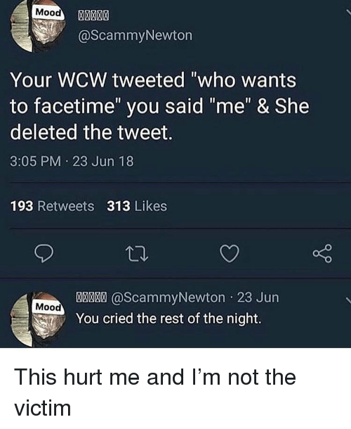 """WCW: Mood  @ScammyNewton  Your WCW tweeted """"who wants  to facetime"""" you said """"me"""" & She  deleted the tweet.  3:05 PM 23 Jun 18  193 Retweets 313 Likes  @ScammyNewton 23 Jun  Mood  You cried the rest of the night. This hurt me and I'm not the victim"""