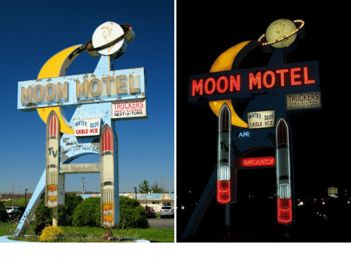 Ater: MOON MOTEL  MOON MOTEL  TRUCKERS  TRUCKERS  WELCOME  NEXT-U-TURN  WATER BEDS  CABLE-VCR  ATER BES  CABLE-VCR  ANR