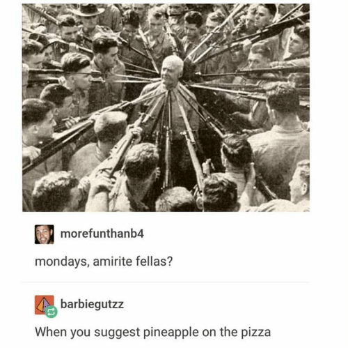 Pineappl: more funthanb4  mondays, amirite fellas?  barbiegutzz  When you suggest pineapple on the pizza