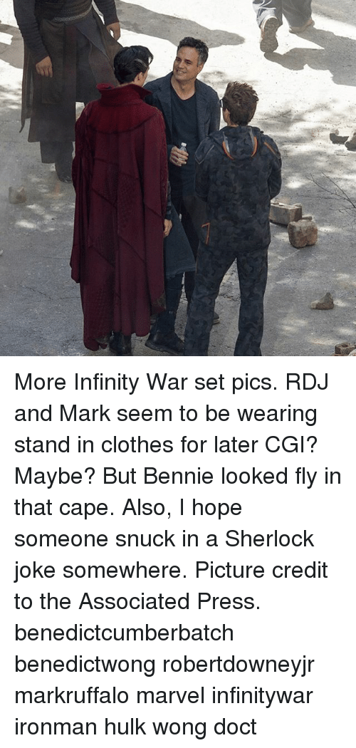 Caping: More Infinity War set pics. RDJ and Mark seem to be wearing stand in clothes for later CGI? Maybe? But Bennie looked fly in that cape. Also, I hope someone snuck in a Sherlock joke somewhere. Picture credit to the Associated Press. benedictcumberbatch benedictwong robertdowneyjr markruffalo marvel infinitywar ironman hulk wong doct