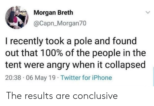 Iphone, Twitter, and Angry: Morgan Breth  @Capn_Morgan70  I recently took a pole and found  out that 100% of the people in the  tent were angry when it collapsed  20:38 06 May 19 Twitter for iPhone The results are conclusive