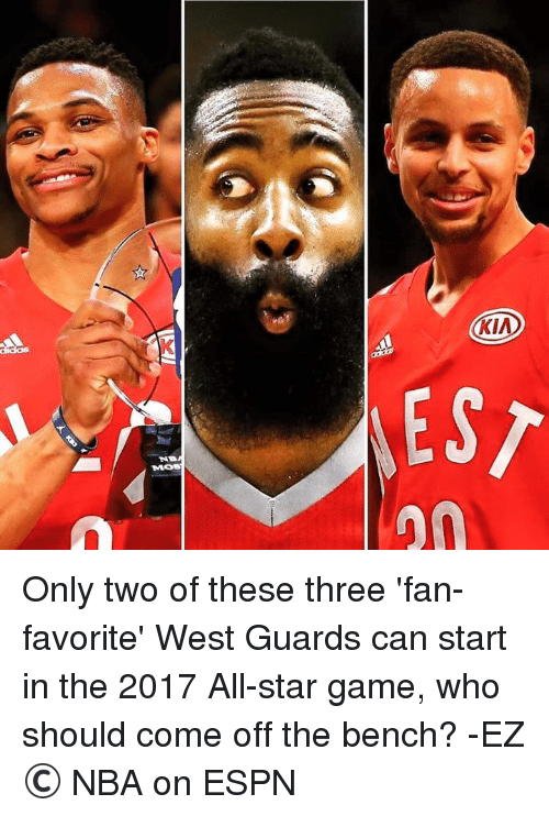 Come Off The Bench: Moss  KIA  EST Only two of these three 'fan-favorite' West Guards can start in the 2017 All-star game, who should come off the bench?  -EZ © NBA on ESPN