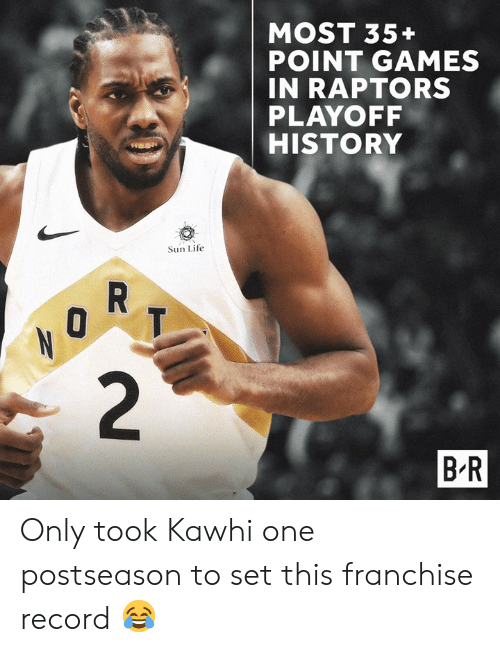 Life, Games, and History: MOST 35+  POINT GAMES  IN RAPTORS  PLAYOFF  HISTORY  Sun Life  B R Only took Kawhi one postseason to set this franchise record 😂