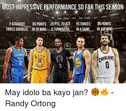 Most Impressive: MOST IMPRESSIVE PERFORMANCE SO FARTHIS SEASON  TSTRAIGHT 60 POINTS 20 PTS, 20AST 13 THREES  34 POINTS  TRIPLE DOUBLES IN 29 MINS TURNOVERS  NAGAM  IN  CAVALIERS  CITI May idolo ba kayo jan? 🏀🔥  -Randy Ortong