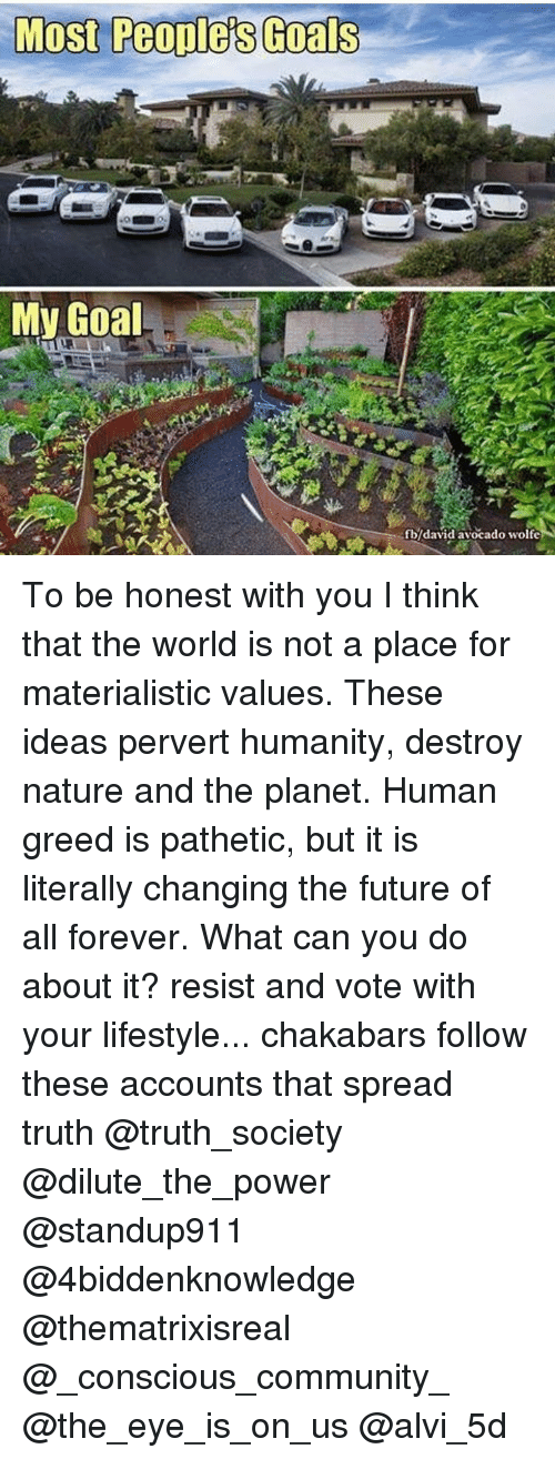 Patheticness: Most Peoples Goals  My Goal  fb/david avocado wolfe To be honest with you I think that the world is not a place for materialistic values. These ideas pervert humanity, destroy nature and the planet. Human greed is pathetic, but it is literally changing the future of all forever. What can you do about it? resist and vote with your lifestyle... chakabars follow these accounts that spread truth @truth_society @dilute_the_power @standup911 @4biddenknowledge @thematrixisreal @_conscious_community_ @the_eye_is_on_us @alvi_5d
