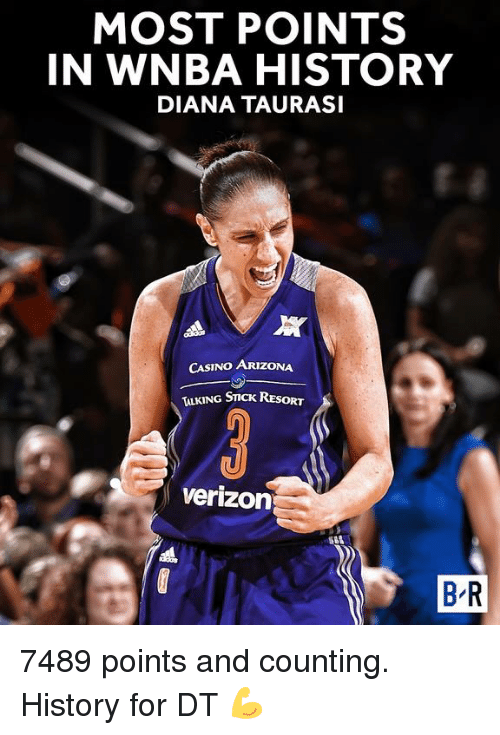 Verizon, WNBA (Womens National Basketball Association), and Arizona: MOST POINTS  IN WNBA HISTORY  DIANA TAURASI  All  CASINO ARIZONA  G STICK RT  Verizon  BR 7489 points and counting.  History for DT 💪