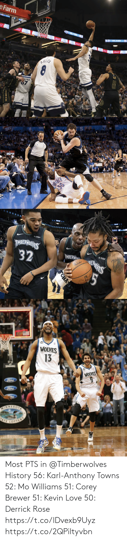 Karl-Anthony Towns: Most PTS in @Timberwolves History  56: Karl-Anthony Towns 52: Mo Williams 51: Corey Brewer 51: Kevin Love 50: Derrick Rose https://t.co/lDvexb9Uyz https://t.co/2QPiltyvbn