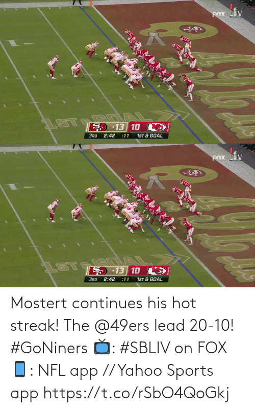 San Francisco 49ers: Mostert continues his hot streak!  The @49ers lead 20-10! #GoNiners  📺: #SBLIV on FOX 📱: NFL app // Yahoo Sports app https://t.co/rSbO4QoGkj