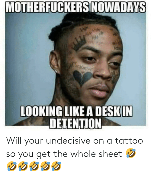 Desk, Tattoo, and Looking: MOTHERFUCKERS NOWADAYS  LOOKING LIKE A DESK IN  DETENTION Will your undecisive on a tattoo so you get the whole sheet 🤣🤣🤣🤣🤣🤣