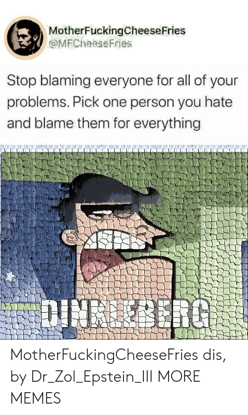 Dank, Memes, and Target: MotherFuckingCheeseFries  MFChaaseFries  Stop blaming everyone for all of your  problems. Pick one person you hate  and blame them for everything  DINBERG MotherFuckingCheeseFries dis, by Dr_Zol_Epstein_III MORE MEMES