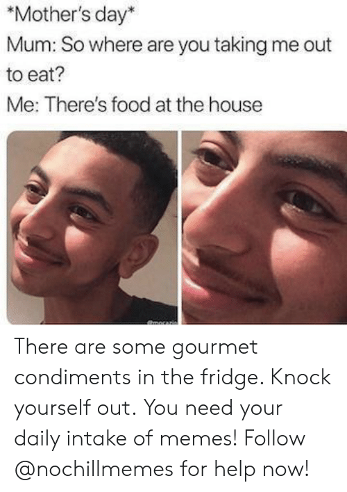 Food, Memes, and Mother's Day: *Mother's day*  Mum: So where are you taking me out  to eat?  Me: There's food at the house There are some gourmet condiments in the fridge. Knock yourself out.You need your daily intake of memes! Follow @nochillmemes for help now!